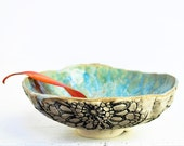 serving Bowl handmade sculpturalceramics Urban Rustic series in Ice Crystal Blue