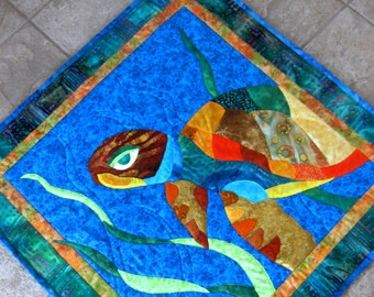 Turtle Wall Art Quilt Wall Hanging Colorful Talulah Tropical Beach House Applique OOAK Handmade
