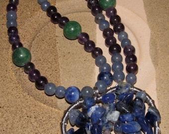 Heart Shaped Sodalite Tree of Life Chakra Necklace