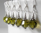 Olive Crystal Earrings, Simple Beaded Dangles for Bridesmaids, Handmade Olivine Swarovski Crystallized Element Beaded Jewelry Sets, Weddings