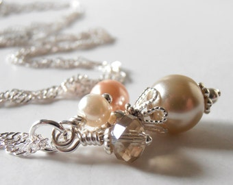 Peach Wedding Jewelry Beige and Peach Pearl Cluster Necklace Bridesmaid Necklaces Pearl Jewelry Sets Beaded Pendant Peach Bridesmaid Jewelry