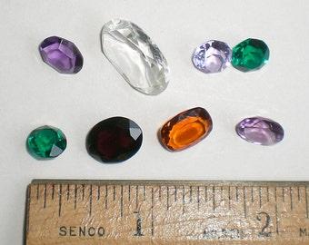 8 Assorted Loose Faceted Faux Gemstones  Item Z 6