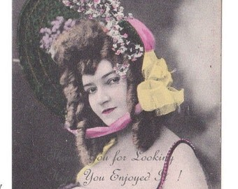 Hand Tinted Portrait of A Sexy Showgirl in Great Costume & Hat - Vintage RPPC Circa 1910