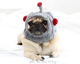 Robot Dog Hat - Pug Hat - Custom Dog Clothing - Pet Apparel - French Bulldog Hat - Gift for Dog Lovers