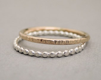 Gold Ring and Sterling Silver Ring 2 toned stacking rings textured ring thumb ring, midi ring or pinky ring