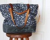 Organic Cotton Canvas Tote Bag with Leather Handles and Waxed Canvas Base. Navy Blue Plus.