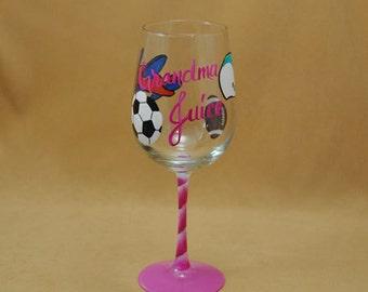 Grandma Juice Hand Painted Wine Glass