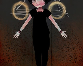 "Fine Art Print ""Stigma"" (boy version) 8.5x11 or 8x10  Premium Giclee Print by Jessica von Braun - Print - Creepy Cute Art"