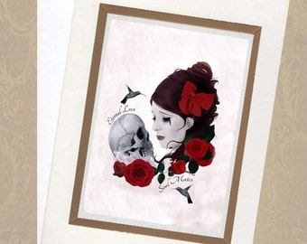 Valentines Card - Gothic Romance - Girl And Skull - Soul Mates