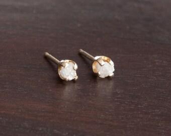 Fair Trade White Raw Diamond 14k Yellow Gold Earrings Posts Studs - Twinkles Earrings