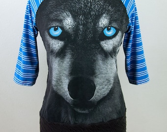 Hungry Like the Wolf UPCYCLED Raglan Sleeve Ladies T-Shirt size LG/XLG
