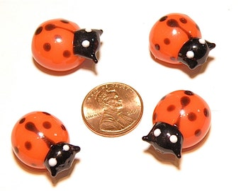 20% OFF -- DESTASH -- Four (4) Puffy Red and Black Ladybug Lampwork Beads