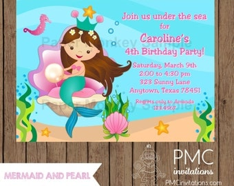 Custom Printed Brunette Mermaid Birthday Invitations - 1.00 each with envelope