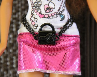 Black Lock and Key Chastity Doll Jewelry Belt Set for Fashion Dolls 11 1/2 - 12 inch 1/6th Scale