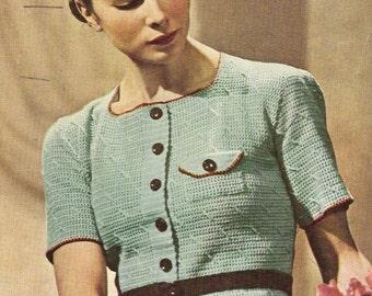 031 - Easy Crochet Jumper Vintage Crochet Pattern 1938