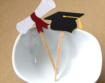 12 Graduation Cap & Diploma Cupcake Toppers, Party Picks or Skewers