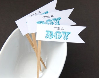 12 It's a Boy (circus) Flag Cupcake Toppers, Party Picks or Skewers