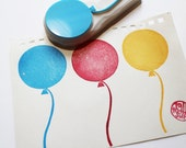 party balloon hand carved rubber stamp. party stamp. birthday wedding christmas gift wrapping. scrapbooking. holiday crafts. large