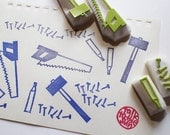carpenter's tool stamp set. hand carved rubber stamp. sew hammer nails pencil. diy father's day. gift wrapping. scrapbooking. set of 4