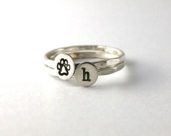 Paw Print Rings, Custom Block Initial Paw Print Rings, Sterling Silver Stack Rings, Dog And Cat Paw Print Rings