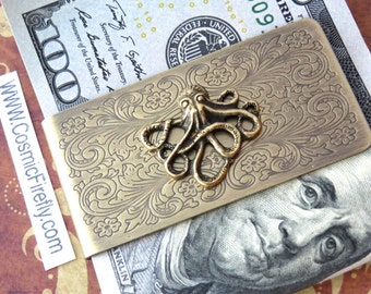 Brass Octopus Money Clip Steampunk Money Clip Men's Money Clip Vintage Inspired Antiqued Brass Money Clip Nautical Sealife Money Clip