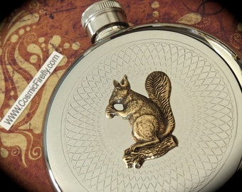 Tree Squirrel Flask Victorian Squirrel Steampunk Flask Vintage Inspired Round Flask Brass Squirrel Purse Flask Pocket Flask Silver Flask
