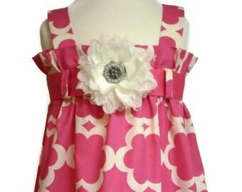 Zadee Dress... Kumari Garden Fabric by Dena Designs....Choice of Interchangeable Ribbon Belt... Girls Sundress
