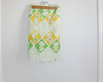 Vintage Green and Yellow Baby Blanket
