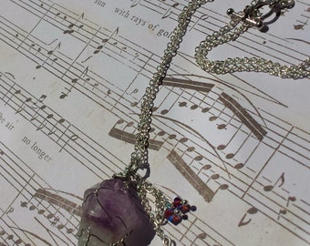 SALE 40% OFF- Wire Wrapped Amethyst Necklace