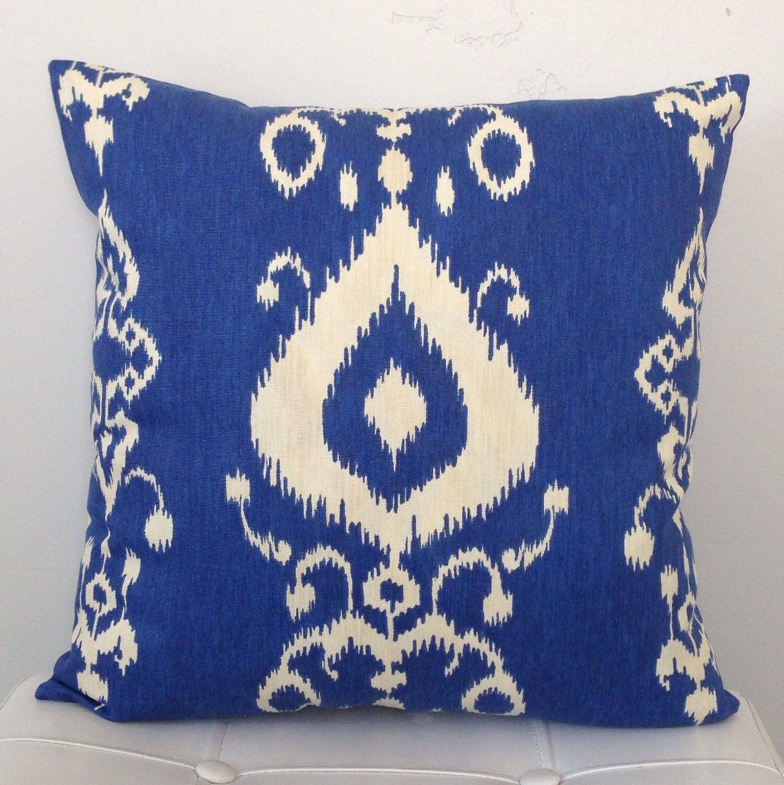 Royal Blue And White Throw Pillows : Blue Ikat Pillow Cover Royal Blue Pillow Blue Decorative