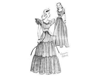 Vintage Wedding Gown Pattern Butterick 1231, Ruched Sweetheart Neckline, Flutter Sleeves, Tiered Dress, Cotillion, Evening Dress