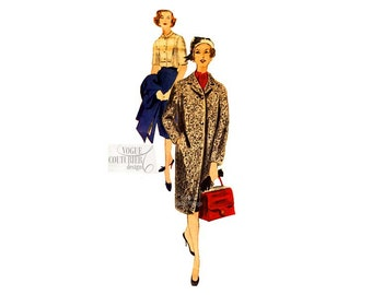 1950s Sewing Pattern, Vogue Couturier 186, Womens Tailored Coat, Pencil Skirt & Blouse, Bust 36, Vintage Sewing Patterns