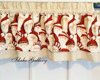 Santa Claus Stars Little Kitchen Curtain Christmas Holiday Decor Valance