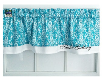 layered curtain turquoise and white damask bedroom