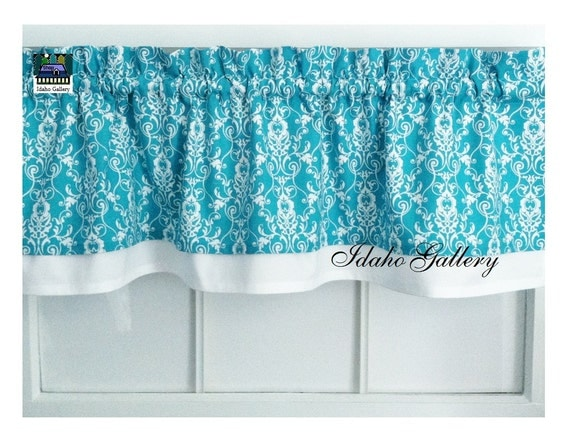 layered curtain turquoise and white damask bedroom 87866