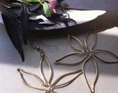 Flower Earrings, Orchids, Large Earrings, Bold Earrings, Natural, Botanical, Gold Hoops, Island Style, Hawaii, Jungle, Tropical Flowers-TICA