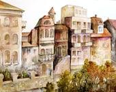 Watercolor Original Painting - Purple Orange Sunny Street, Brown Houses, Buildings Urban Landscape - 8.2x11.5 in