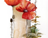 Red Poppies Original Watercolor Painting (one of a kind) 9x12 Art - Poppies in Bloom