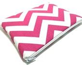 iPad Mini Case, iPad Mini Sleeve, Samsung Galaxy Tab Case, Amazon Fire HD Case, Amazon Fire Kids, Padded Zipper Case, Pink Chevron Fabric