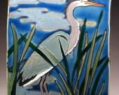Large Great Blue Heron Roughcut Tile