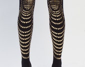 Hand printed tights, Goldfish, black & gold, available in S-M, L-XL