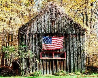 Old Barn Photo and American Flag, Americana