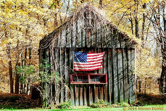 Items Similar To Old Barn Photo And American Flag