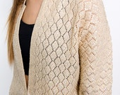 The Vintage Beige Beaded Cardigan Sweater