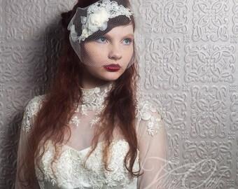 Birdcage veil, wedding veil, wedding headpiece, bridal headpiece, bridal hair clip, wedding lace veil, detachable veil, bandeau veil, veil,
