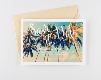 Save The Date - Tropical Palm Tree Beach Wedding Invitation
