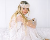 "Ethereal Wedding Flower Crown in ivory and blush silk organza ""Jill"""