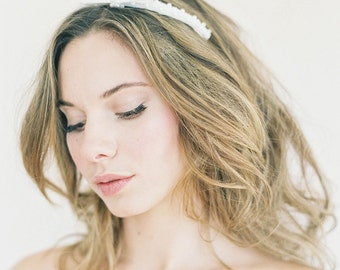 """Pearl bow headband with optional snap off veil """"Andy"""""""