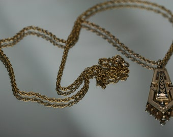 Gold Tone Taille d epergne Pendant with Chain - Vintage/Antique