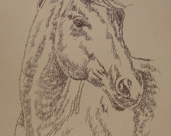Thoroughbred Horse - Artist Kline animal art using only words. Artist adds your horse's name free. Signed and numbered 30/500